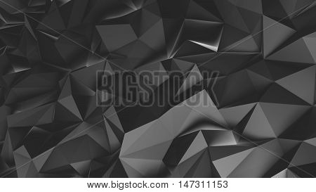 Abstract black 3d rendered geometric background with spikes. Monochrome background consisting of triangles. Abstract 3d rendering of metal surface.
