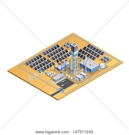 Model of solar station complex with mirror plates tower transformers control centre and parking isometric vector illustration