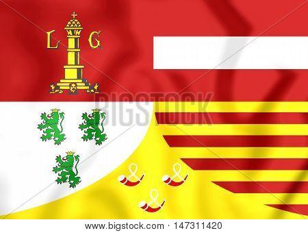 Flag Of Liege Province, Belgium. 3D Illustration.