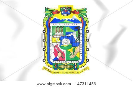 Flag Of Puebla State, Mexico. 3D Illustration.