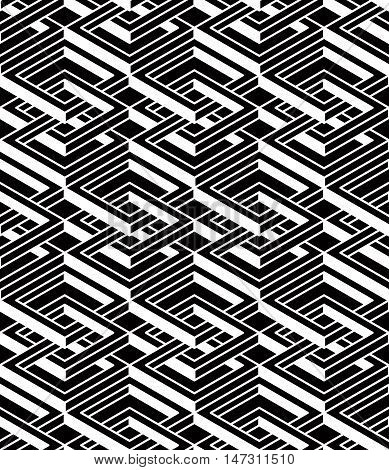 Contemporary abstract vector endless background three-dimensional repeated pattern. Decorative graphic entwine ornament.