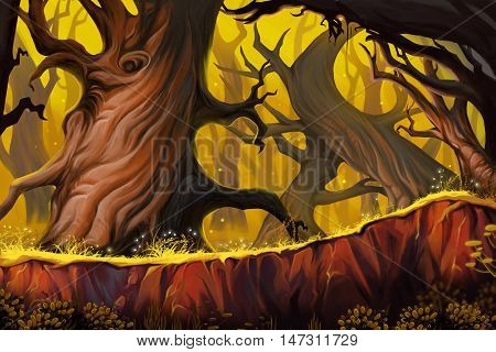 Strange Tree Forest. Video Game's Digital CG Artwork, Concept Illustration, Realistic Cartoon Style Background