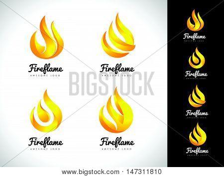 Flame logo template. Oil and gas logo vector. Fire vector design.