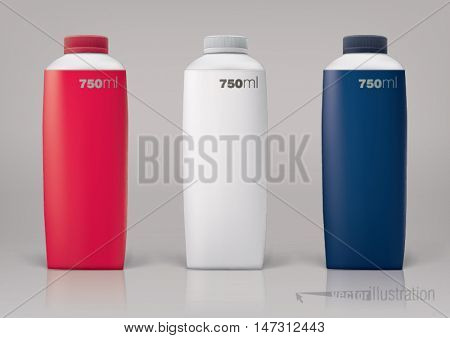 Set of packaging bottles of 750 ml