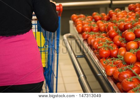 Woman shopping for groceries in supermarket standing with her back to the camera pushing her trolley past the fresh produce