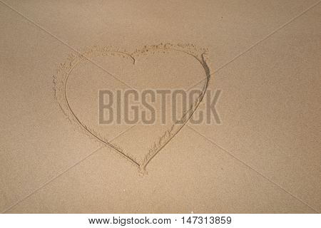 Beautiful Heart Shape Drawn In The Sand