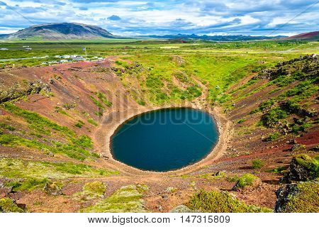 Kerid, volcanic crater lake in Grimsnes , Iceland