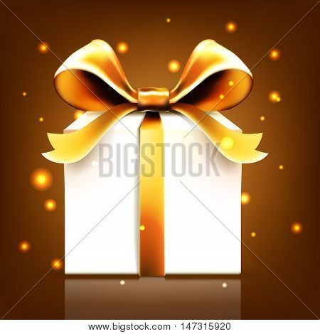 gift gold ribbon bow vector snow bow, greeting, gift, decoration, banner