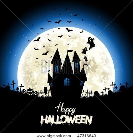 Halloween night - silhouettes caslte and halloween items on the moon background. Vector design poster illustration. Eps 10