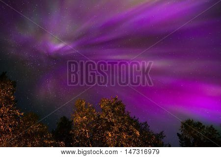 Colorful Northern lights Crown (Aurora borealis) in the sky