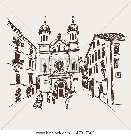 original sepia sketch drawing of Church of Saint Tryphon in Kotor Montenegro, world heritage site of UNESCO, travel postcard vector illustration
