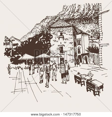 original sepia sketch drawing of Kotor street - famous place in Montenegro, old town travel postcard vector illustration