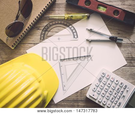 Paperwork With Writing Materials For Architecture On Table