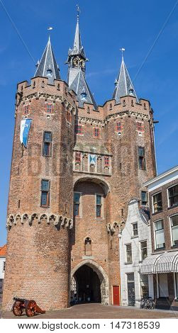 Old City Gate Sassenpoort And Cannon In Zwolle