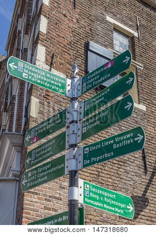 Tourist sign giving directions to places of interest in Zwolle Netherlands