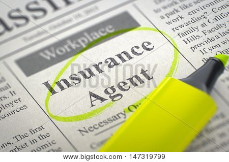 A Newspaper Column in the Classifieds with the Small Advertising of Insurance Agent, Circled with a Yellow Marker. Blurred Image with Selective focus. Concept of Recruitment. 3D Render.