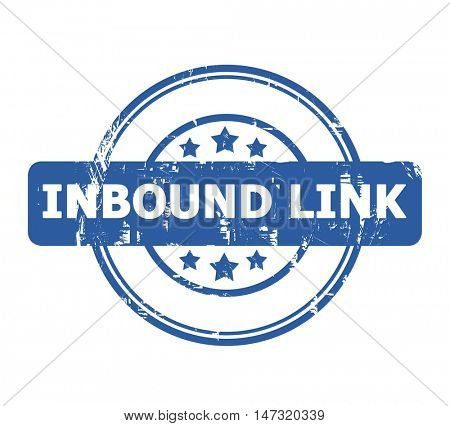 Inbound Link Stamp with stars isolated on a white background.
