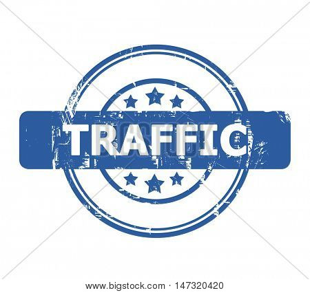 Traffic Stamp with stars isolated on a white background.