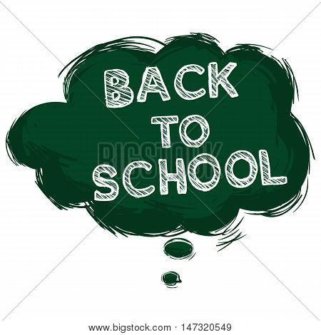 Vector Single Grunge Green Bubble - Back To School.