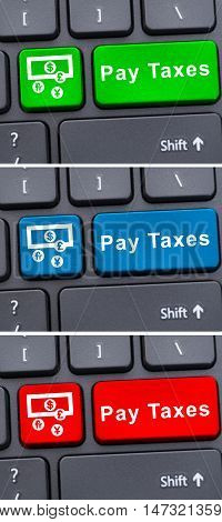 Virtual Payment Concept With Pay Taxes Button