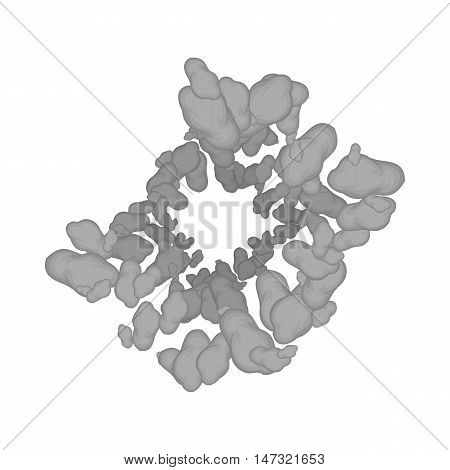 Asteroids icon in black monochrome style on a white background vector illustration