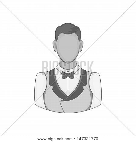 Casino croupier icon in black monochrome style on a white background vector illustration