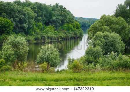 Picturesque landscape of a calm lake with a green forest around