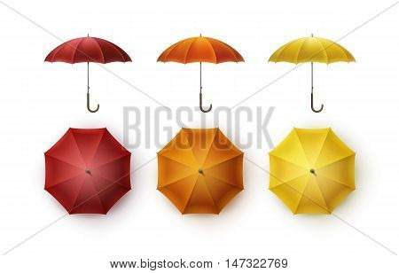 Vector Set of Yellow Orange Red Blank Classic Opened Round Rain Umbrella Parasol Sunshade Top Front Side View Mock up Close up Isolated on White Background.