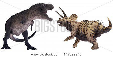 3D rendering of Tyrannosaurus Rex facing off against Triceratops horridus.