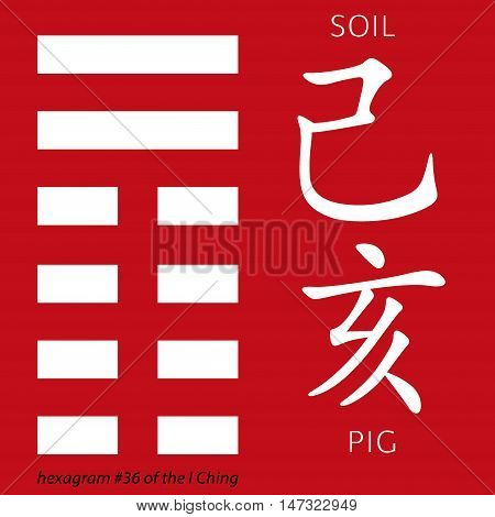 Symbol of i ching hexagram from chinese hieroglyphs. Translation of 12 zodiac feng shui signs hieroglyphs- soil and pig.