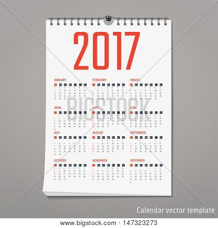 Vector Illustration of flat calendar 2017 for Design, Website, Background, Banner. Minimalism Template for your company brand Calender