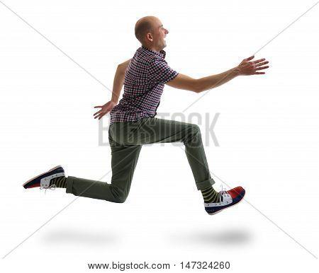 Caucasian Running Man Isolated Over White