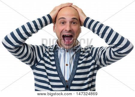 Man Shocked To Madness With His Hands On Head