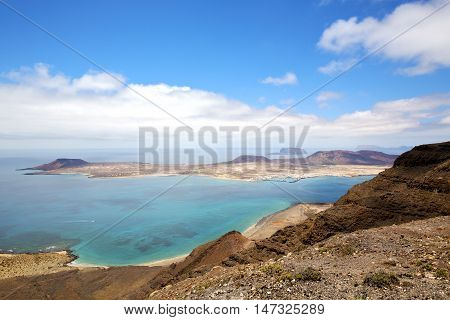 Spain Miramar  Rio Harbor Rock Sky Cloud Beach  Boat  Water  In Lanzarote  Graciosa