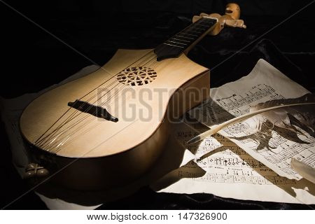 Renaissance Lute (citole) With Musical Notes