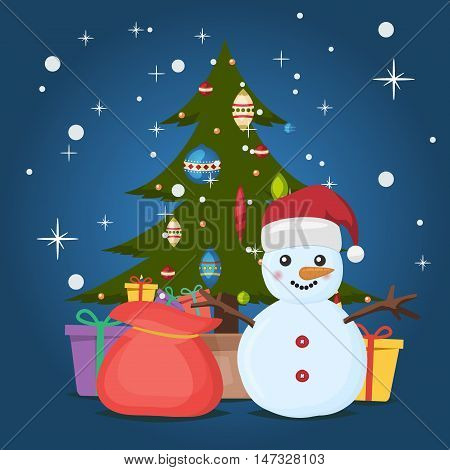 Vintage Christmas poster design with snowman. Merry xmas vector winter christmas poster christmas poster. Decorations and gifts. Christmas tree greeting card background poster.