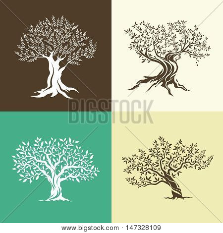 Olive trees silhouette isolated icon set. Web graphics modern vector sign. Premium quality illustration logo design concept pictogram.