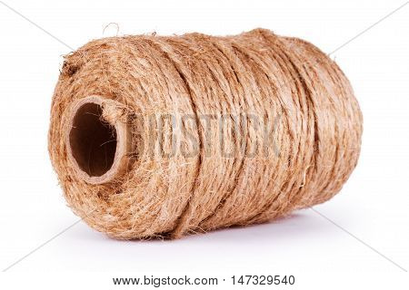 Coil of rope isolated on white background. Reel of rope and end of thread isolated on white. Hank of twine linen string isolated on white background. Roll of twine cord isolated on white.