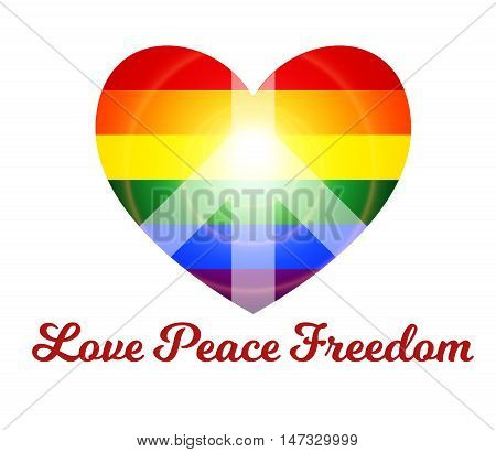 vector banner sticker with a rainbow lgbt-colored heart with a pacific sign inside it