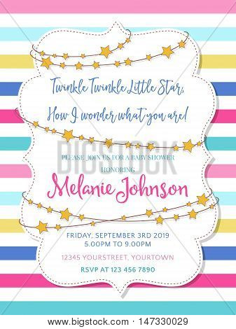 Lovely baby shower announcement card vector format