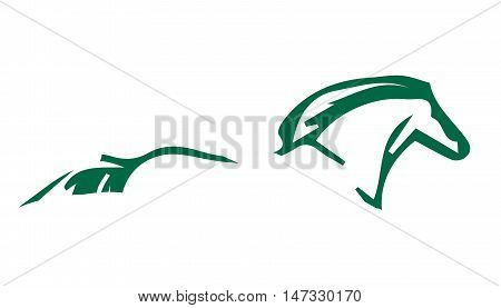 The sign of the horse green on a white background-abstract emblem of equestrian sport vector illustration