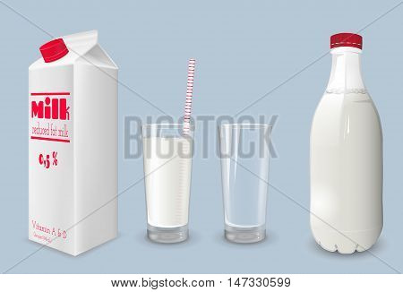 Milk carton and glass of milk. Reduced fat milk.