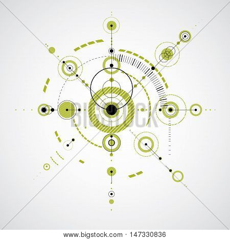 Bauhaus retro art vector green background made using grid and circles. Geometric graphic 1960s illustration can be used as booklet cover design. Technological pattern.