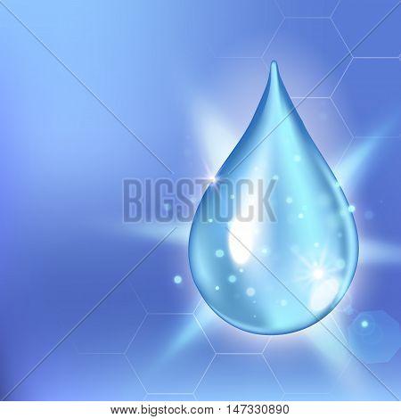 Vector illustration of Supreme collagen oil drop essence. Premium shining serum droplet. Collagen drop. Cosmetics solution