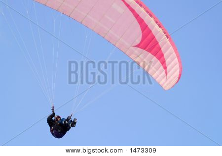 Parachute In  Blue Sky.