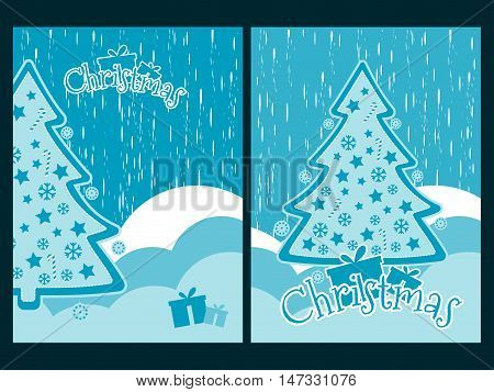 Christmas Background With Snowflakes Christmas Tree And Presents. Decorated Christmas Tree. New Year