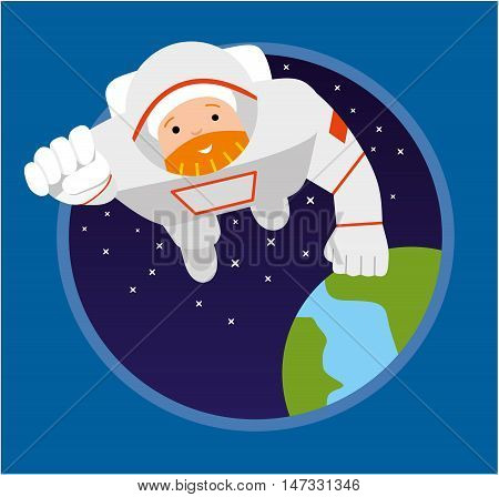 Astronaut flying forward. Illustration of Astronauts Floating in Space. Flat vector illustration
