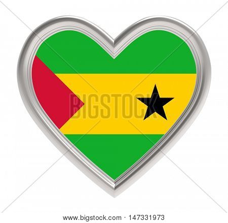 Sao Tome and Principe flag in silver heart isolated on white background. 3D illustration.