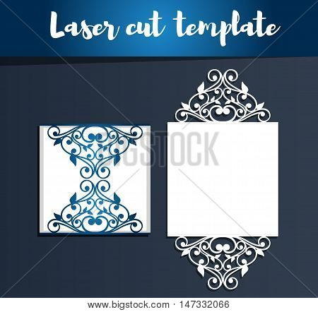 Laser Cut Template For Invitation Or Greeting Card. Paper Cut Out Card. Openwork Silhouette For Cutt
