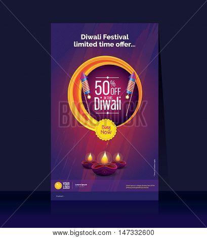 Diwali Offer Poster Design Template with 50% Discount Offer, Legal Size